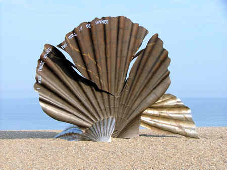 Image of Hambling's shell on the beach at Aldburgh